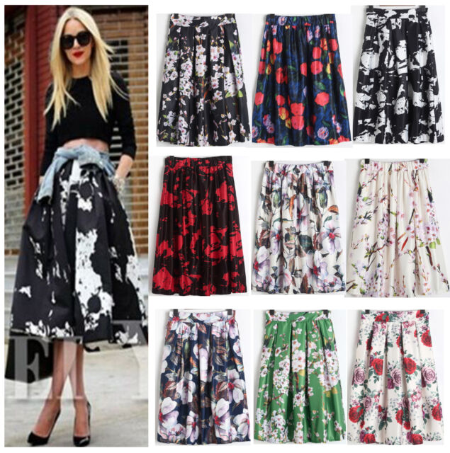 Women Floral Print Vintage  High Waist Ball Gown A-Line Pleated Midi Swing Skirt