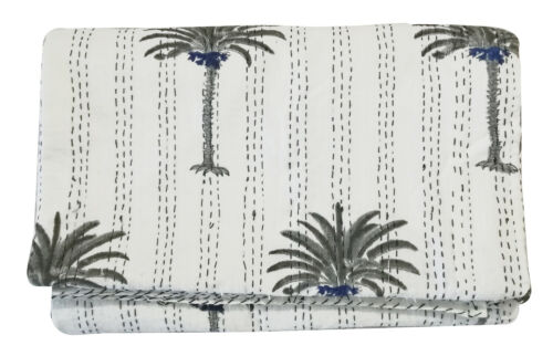 Palm Tree Kantha Bed Cover Kantha Quilt Bedspread Bedding Kantha Hand Block Print Bed Cover Kantha Throw
