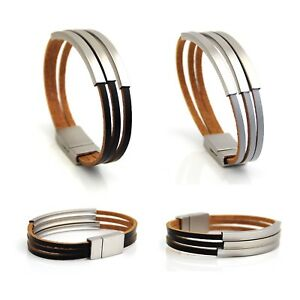 Three strands real leather or PU leather bracelet interlock silver magnetic clasps tubes 2OcN7znR