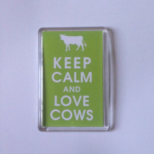 KEEP CALM AND LOVE COWS Keyring or Fridge Magnet GIFT PRESENT IDEA