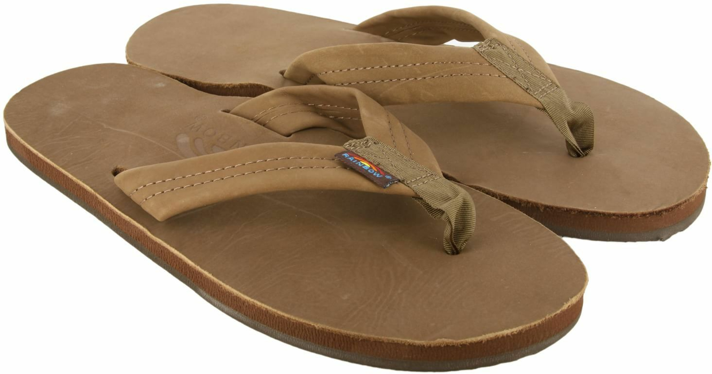 Men's LARGE 9.5-10.5 RAINBOW Premier Leather Single Layer DARK BROWN Flip Flops