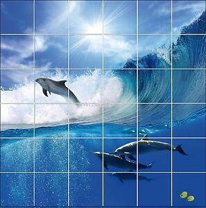 Sticker carrelage mural faience d co cuisine ou salle de bain dauphins r f 832 ebay - Stickers pour faience cuisine ...