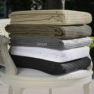 100-Cotton-Cellular-Honeycomb-Waffle-Blanket-White-Mocha-Latte-Charcoal