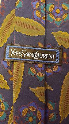 """Vintage, Yves Saint Laurent, Blue with Floral Print, Skinny Tie (59"""")"""