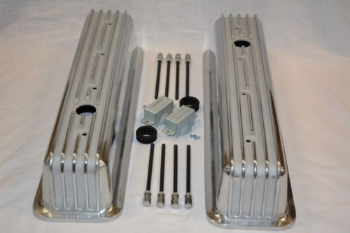 Aluminum Small Block Chevy Tall Finned Center Bolt Valve Covers Vortec TBI 350