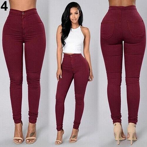 BG/_ Womens Pencil Stretch Casual Denim Skinny Jeans Pants High Waist Trousers Wo