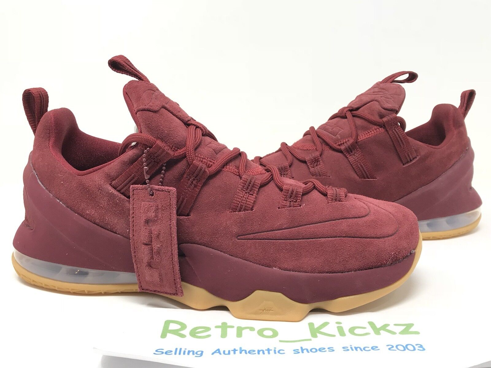 Seasonal clearance sale AH8289 600 NIKE LEBRON XIII 13 LOW PREMIUM BURGANDY RED GUM BASKETBALL 8 MENS