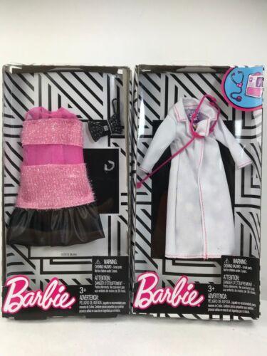 Pink Sheer Fuzzy /& Black Dress. Barbie Career Fashion Pack  Doctor White Coat