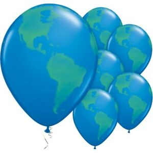 Globe blue planet earth 11 latex balloons helium quality world map image is loading globe blue planet earth 11 034 latex balloons gumiabroncs Gallery