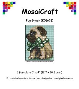 MosaiCraft-Pixel-Craft-Mosaic-Kit-039-Pug-Green-039-Dog-Pixelhobby