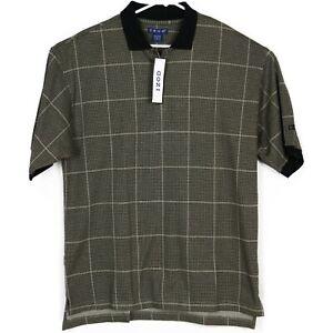 Vintage-Izod-Mens-Golf-Polo-Shirt-Sz-L-Black-Tan-Houndstooth-Plaid-NWT-Deadstock
