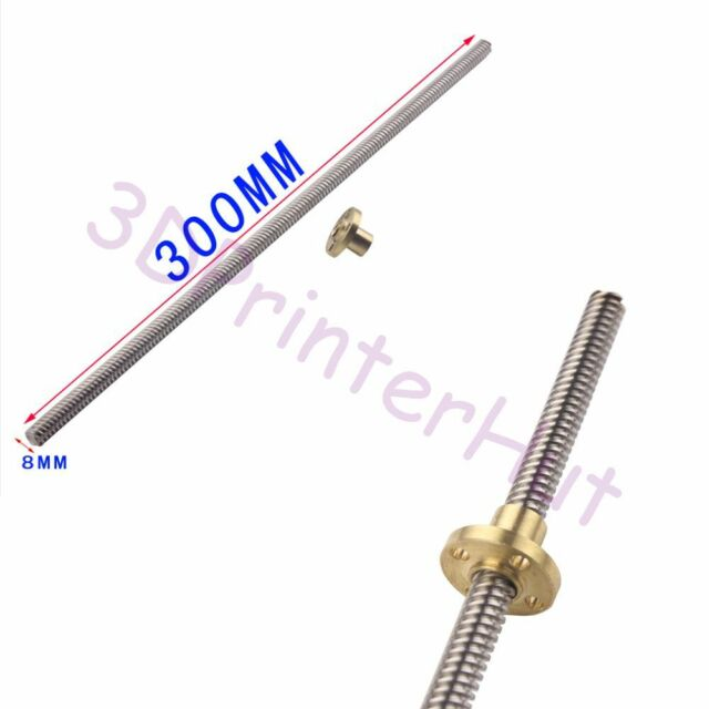 300mm Lead Screw 3D Printer Z Axis CNC with Nut,8mm Lead of Thread,THSL-300-8D