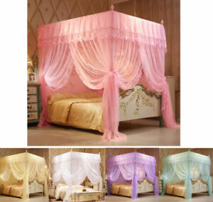 Lace 4 Corner Post Bed Canopy Mosquito Netting Or Bed Frame Single