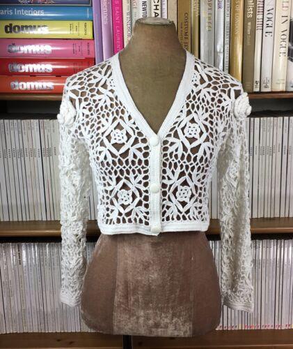 90s Cardigan Sheer Us 6 Handmade Flowers 8 Uk 4 Vtg Crochet 10 Cropped Yqx6wZA