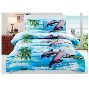 Queen-Comforter-Set-Ocean-Themed-Bedding-Bedroom-Decor-Beach-3D-Dolphins-3-Piece