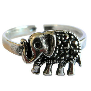 Elephants Toe Ring Oxidized Face Height 4 mm Sterling Silver 925 USA Seller