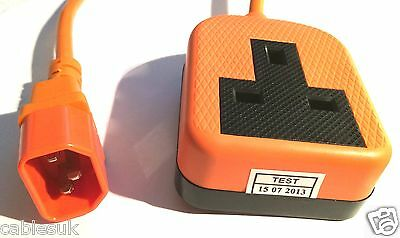 IEC C14 plug to UK 13A socket 10A Adapter Lead 0.75mm² 30cm cable 1G ORANGE 0.3m