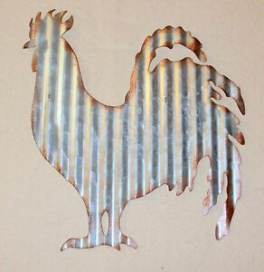 NEW~Rusty Corrugated Tin Rooster Wall Hanging Farmhouse Decor Chicken