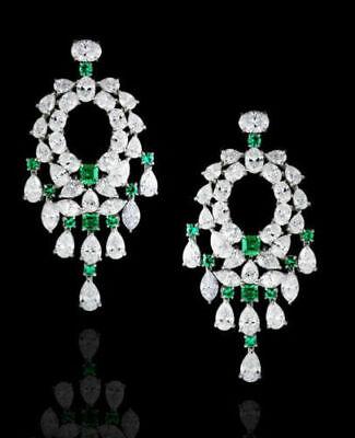 Solid 925 Sterling Silver Seven Heart White Cz Beautiful Dangle Earrings Gifts**
