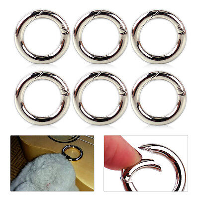 6pcs Mini Silver Circle Round Carabiner Spring Snap Clip Hook Keychain Hiking CZ