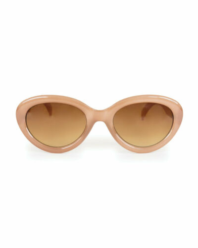 Ladies Stone Candy Vintage Oval Sunglasses in Hard Case Powder Design Audrey