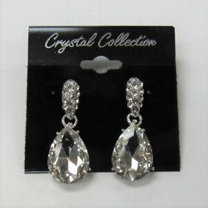 Silver-Clear-Rhinestone-Austrian-Crystal-Teardrop-Dangle-Earrings-Bridal-Wedding