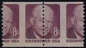 "1402 Misperf Error / EFO Pair ""Down the Center"" Eisenhower Mint NH"