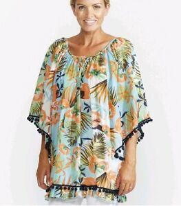 Haven-Tropical-print-pom-pom-beach-Kaftan-top-Cover-Up-One-Size