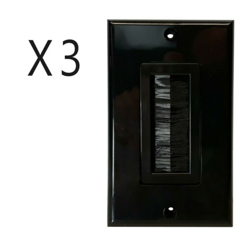 3 Pack Brush Bristle Opening Decor Bulk Cable Wire Wall Plate Face Plate Black