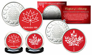 CANADA-150-ANNIVERSARY-Royal-Canadian-Mint-Medallions-2-Coin-Set-ALL-RED-LOGOS