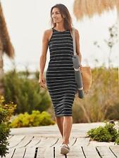 NEW ATHLETA Sunkissed Midi Dress XS XSMALL Black/white Stripe Tank T-shirt $108