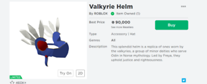 Valkyrie Roblox Id Roblox Valkyrie Helm Hat For Trade 85k Rap 100k Value Limited Item Robux Ebay