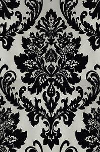 Exclusive havana velvet flock black cream damask wallpaper h66007 ebay - Cream flock wallpaper ...