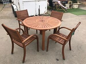 image is loading almeria 4 seater round wooden garden furniture set - Garden Furniture 4 Seater