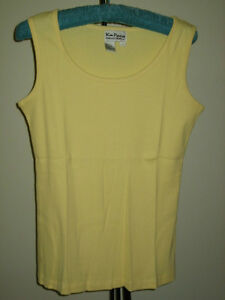 Kim-Parrish-Collection-Yellow-Ribbed-Tank-Top-100-Cotton-Size-LARGE-NEW