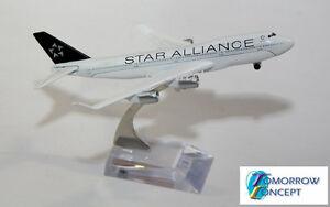 16cm-1-450-Star-Alliance-747-Airplane-Diecast-Plane-Toy-Model
