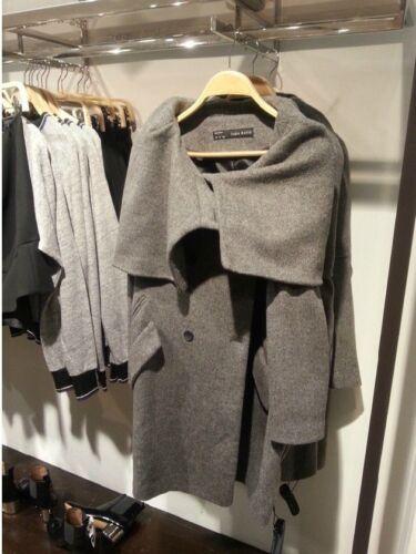 Manteau Vente Veste Petit Breasted Double Grey Wraparound Woolen Zara S Grey UORXq