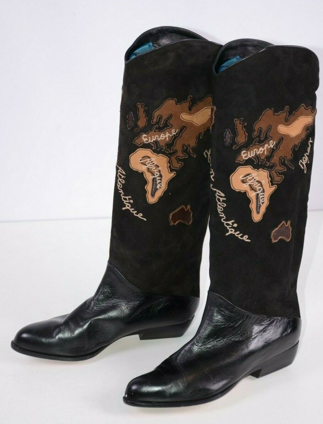 Jean Claude Jitrois Women's Boots Sz 37  Embroidered Black World Map 6.5-7