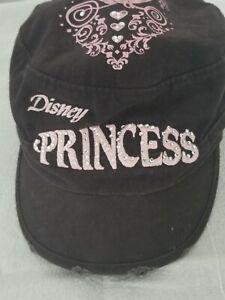 Black-Baseball-Cap-Hat-with-Pink-Disney-Princess-Embroidered-Rhinestone-Logo