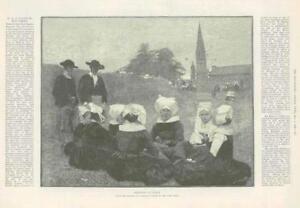 1889-Antique-Print-FINE-ART-Bretonnes-au-Pardon-Dagnan-Bouveret-Paris-287