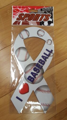 I Love Heart Baseball Ribbon Sports Magnet New In Package Free Shipping