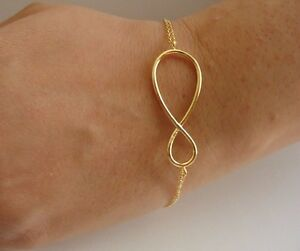 14K-YELLOW-GOLD-OVER-925-STERLING-SILVER-INFINITY-SIGN-BRACELET-9-039-039-ADJUSTABLE