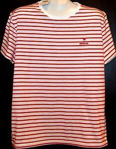 Moschino-Swim-White-Striped-Cotton-Men-039-s-T-Shirt-Shirt-Sz-2XL