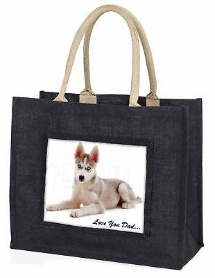 Sibirischer Husky Hund ' liebe Dich Papa' große schwarze Einkaufstasche
