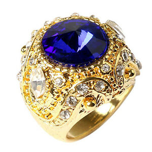 Men-039-s-Vintage-Luxury-Big-Resin-Crown-Gold-Plated-Alloy-Ring-Jewelry-Size-7-10