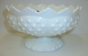 Vintage-Fenton-White-Hobnail-Milk-Glass-Pedestal-Candle-Holder-Centerpiece-Bowl