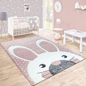 Image Is Loading Baby Nursery Rug Pink White Grey Kids Animal