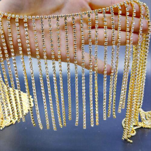 Glitter Crystal Rhinestone Tassel Fringe Trim Chain Beaded DIY Sewing Craft 10cm