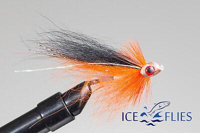 3-pack Black Zulu Bead head ICE FLIES Size 2 Streamer fly - 10