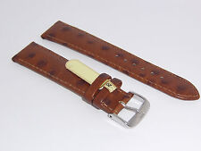 "DI-Modell Genuine Calf Leather Ostrich Grain 20 mm R' BROWN Watch Band ""TIVOLI"""